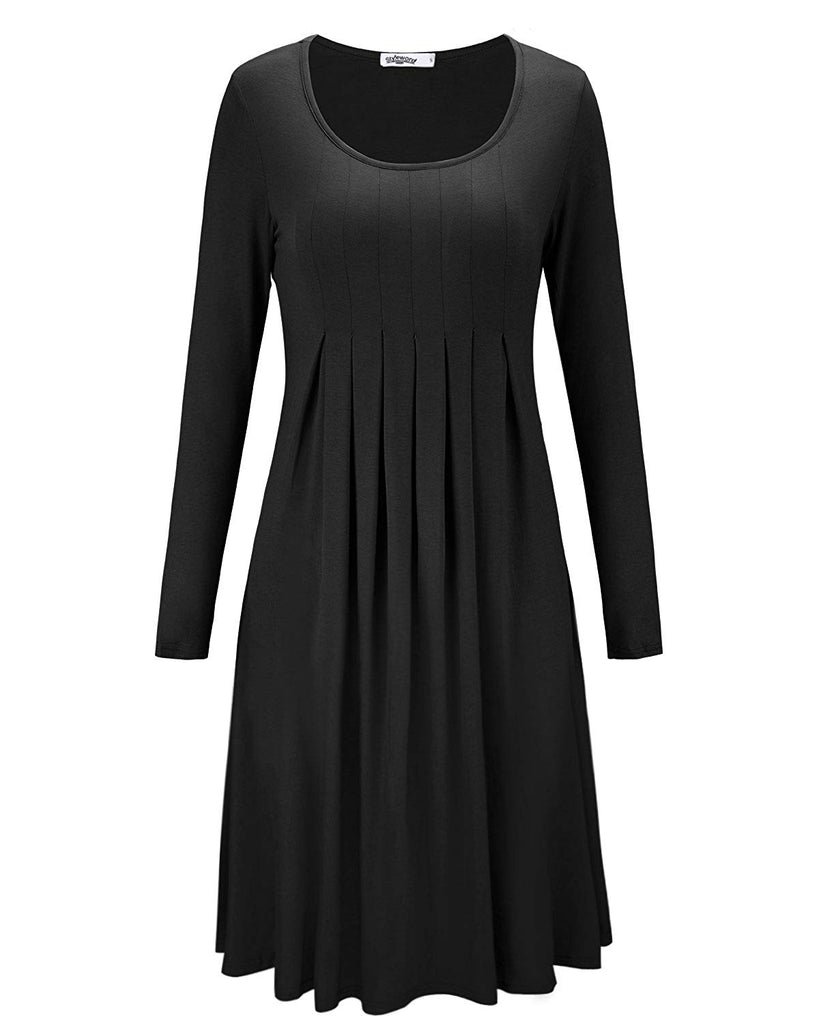 Women's Long Sleeve Pleated Loose Swing Casual Dress