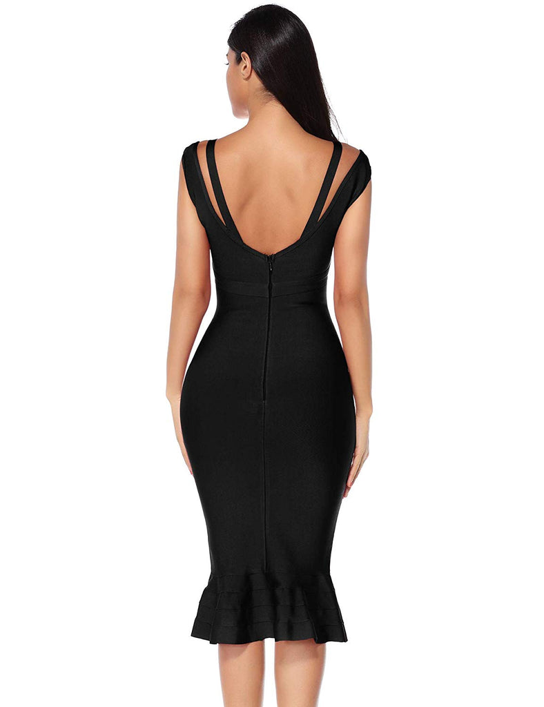 Womens Rayon Halter Fishtail Bandage Party Dress