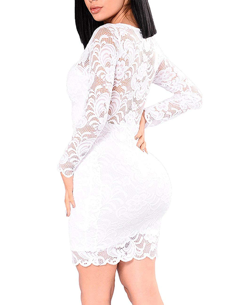 Women's Floral Lace Long Sleeve Bodycon Cocktail Party Dresses