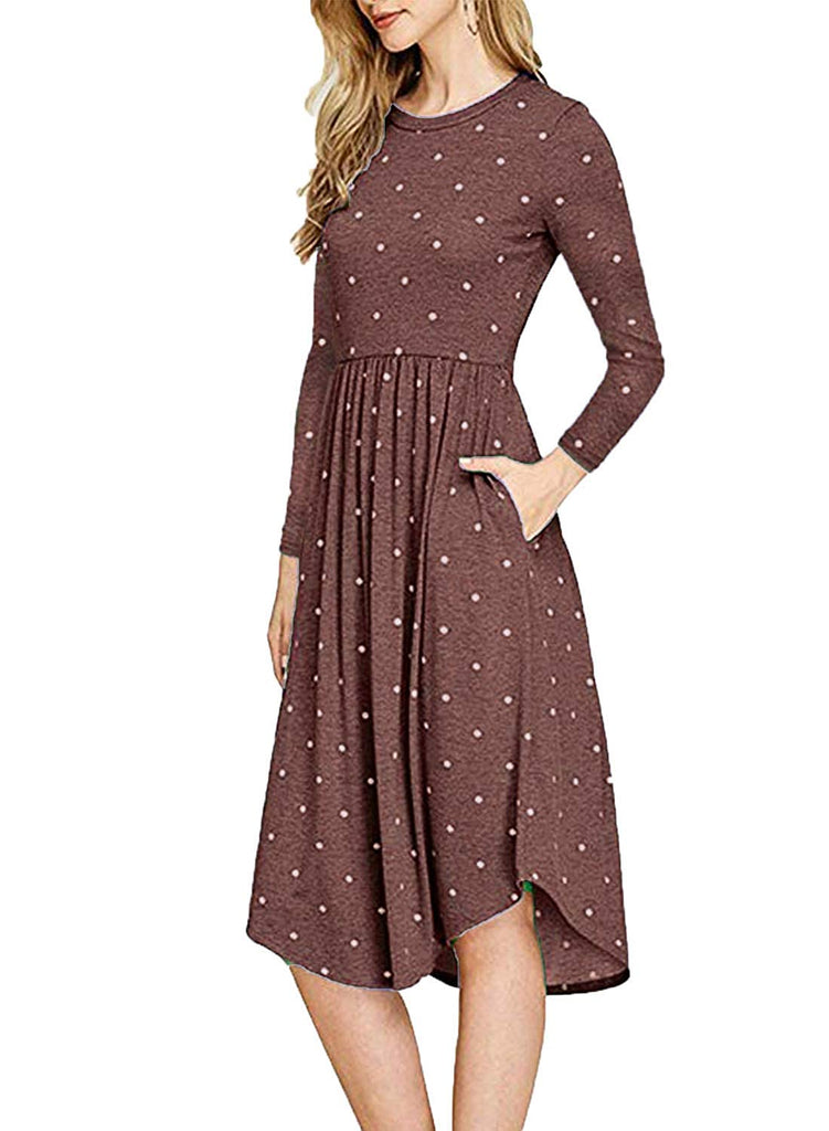 Women's 3/4 Sleeve Elastic Waist Casual Swing Midi Dress with Pocket