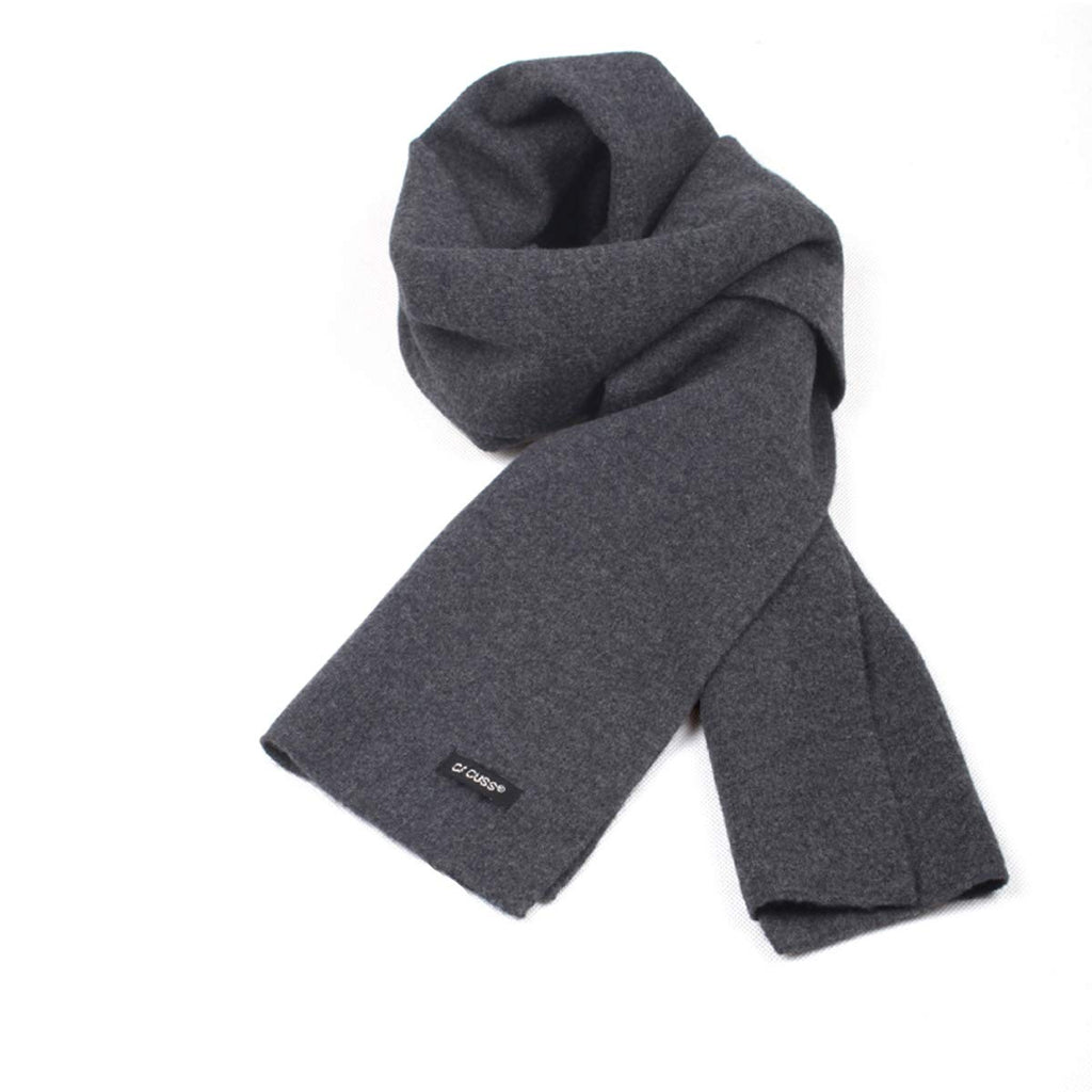 "Pure Wool Mens Scarf Blanket Scarf Black Scarf Fashion Winter Scarf Solid Gift Box 70.74""×12.58"""