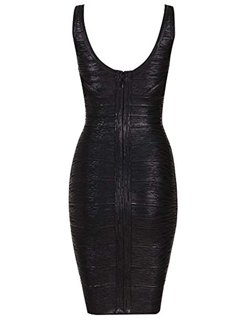 Women's Rayon Sexy V-neck Bandage Bodycon Strap Foil Club Dress