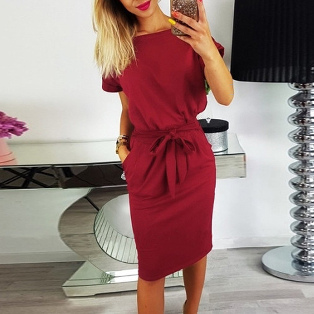 Womens Casual Dress Short Sleeve Wear to Work Elegant Office Dress with Belt
