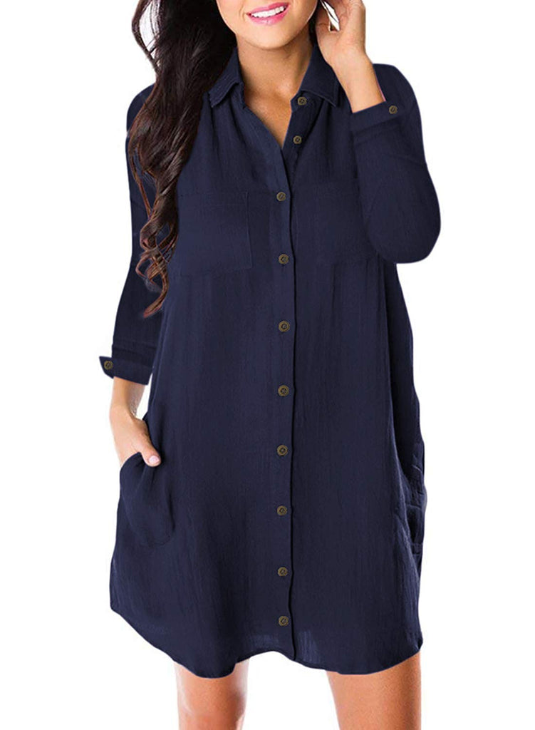 Women's Button Down Dress Long Sleeve Casual Loose Swing Tunic Dress with Pocket
