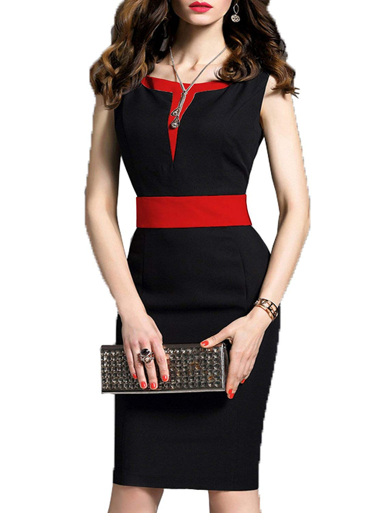 Women's 2/3 Sleeve Colorblock Slim Bodycon Business Pencil Dress