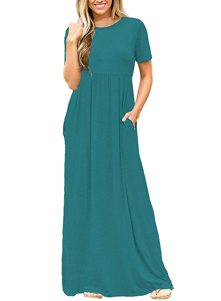 Women Short Sleeve Loose Plain Maxi Dresses Casual Long Dresses with Pockets