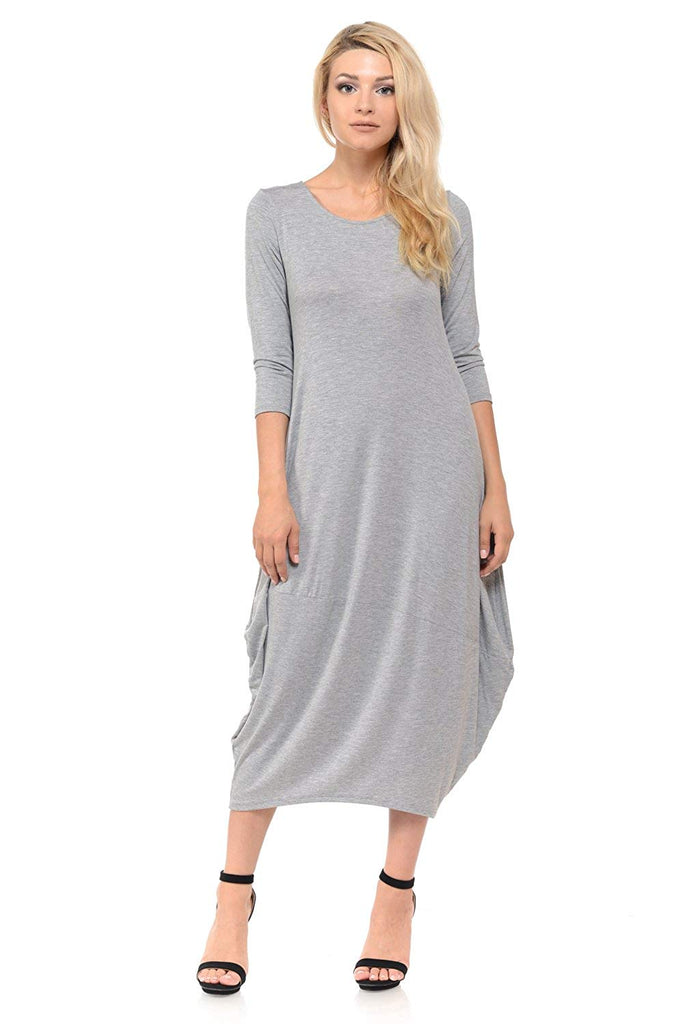 by Vivienne Women's Cocoon Midi Dress with Pocket - Made in USA (20+ Colors)