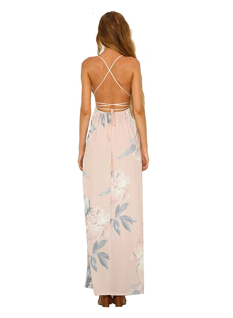 Women's Strap Floral Print Lace Up Backless Deep V Neck Sexy Split Beach Maxi Dress
