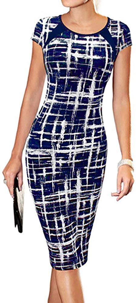 Women's Casual Striped Print Wear to Work Office Career Sheath Dress
