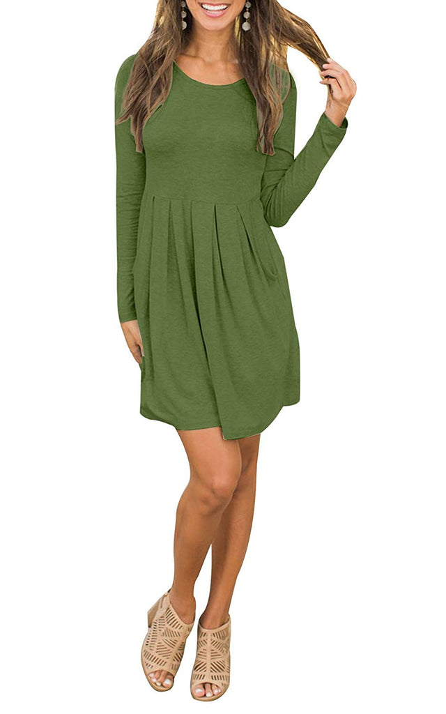 Women Long Sleeve Loose Casual Pleated Swing Dress with Pockets