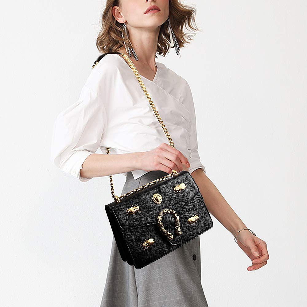 Fashion Leather Crossbody Bag for Women Desinger Shoulder bags with Chain Messager Purse Lion Insect