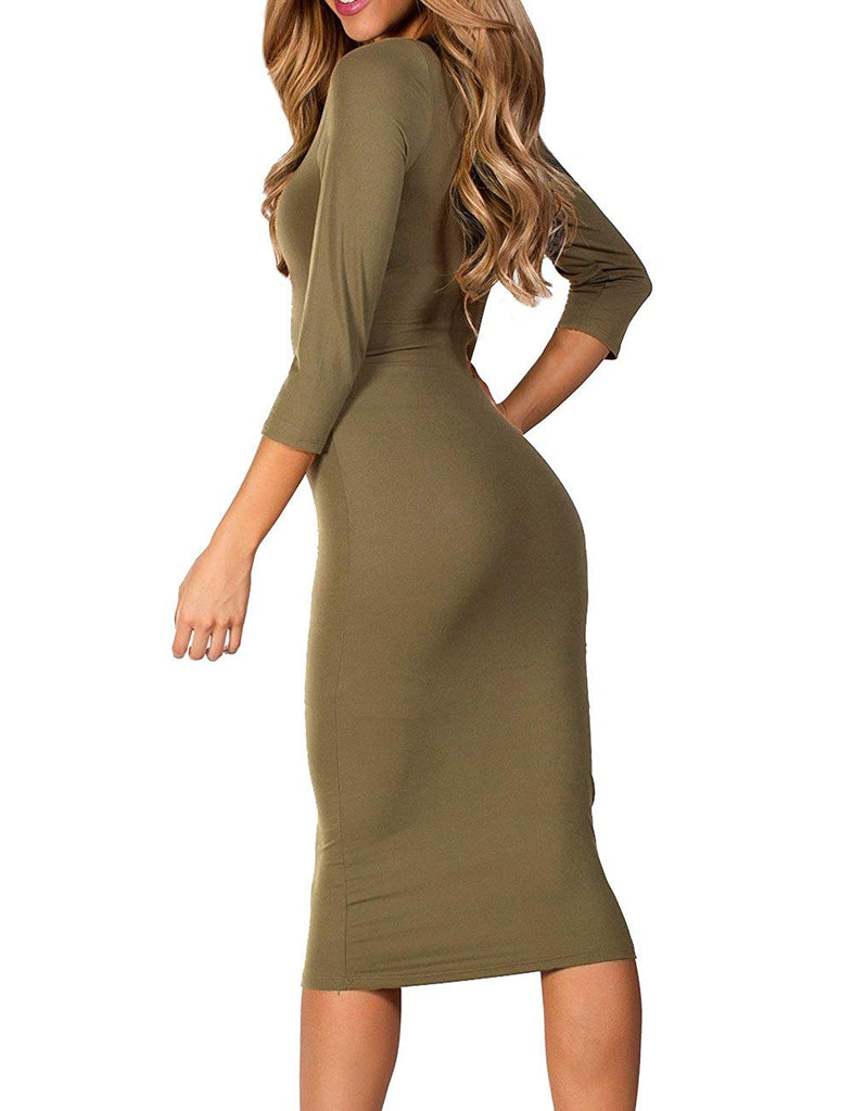 Women's 3/4 Sleeve Bodycon Midi Dress - XS to 3XL