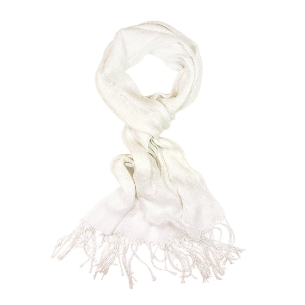 Elegant Solid Color Viscose Fringe Scarf - Different Colors Available, White