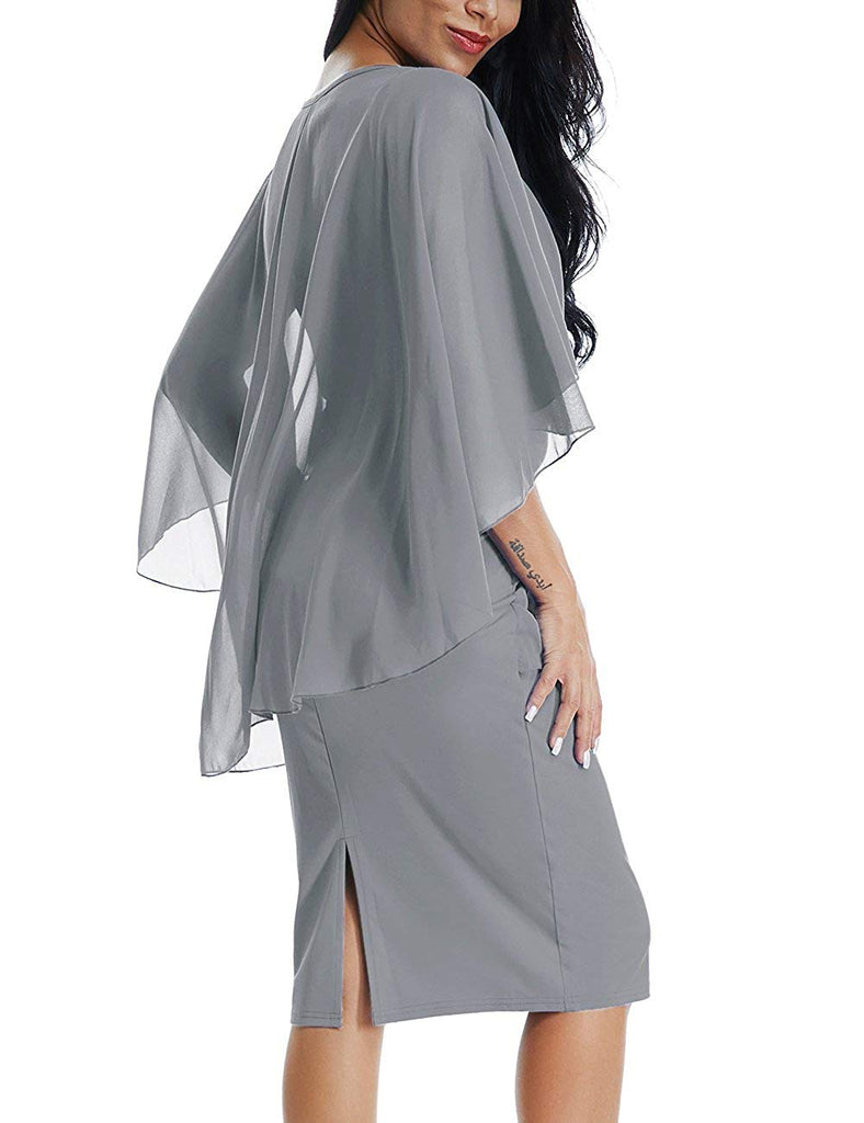 Womens Chiffon Plus Size Ruffle Flattering Cape Sleeve Bodycon Party Pencil Dress S-XXXL