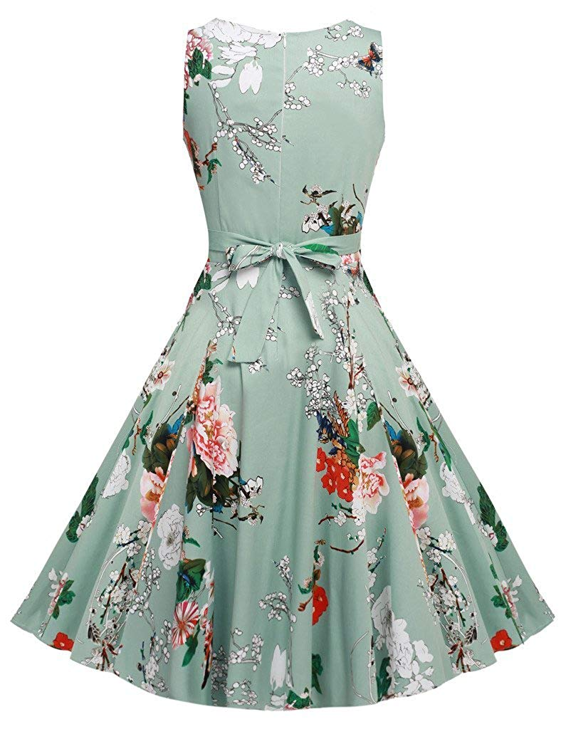 Vintage Classy Floral Sleeveless Party Picnic Party Cocktail Dress