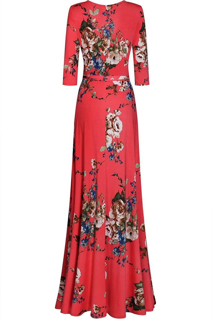 Rosy Women's 3/4 Sleeve V-Neck Printed Maxi Wrap Dress