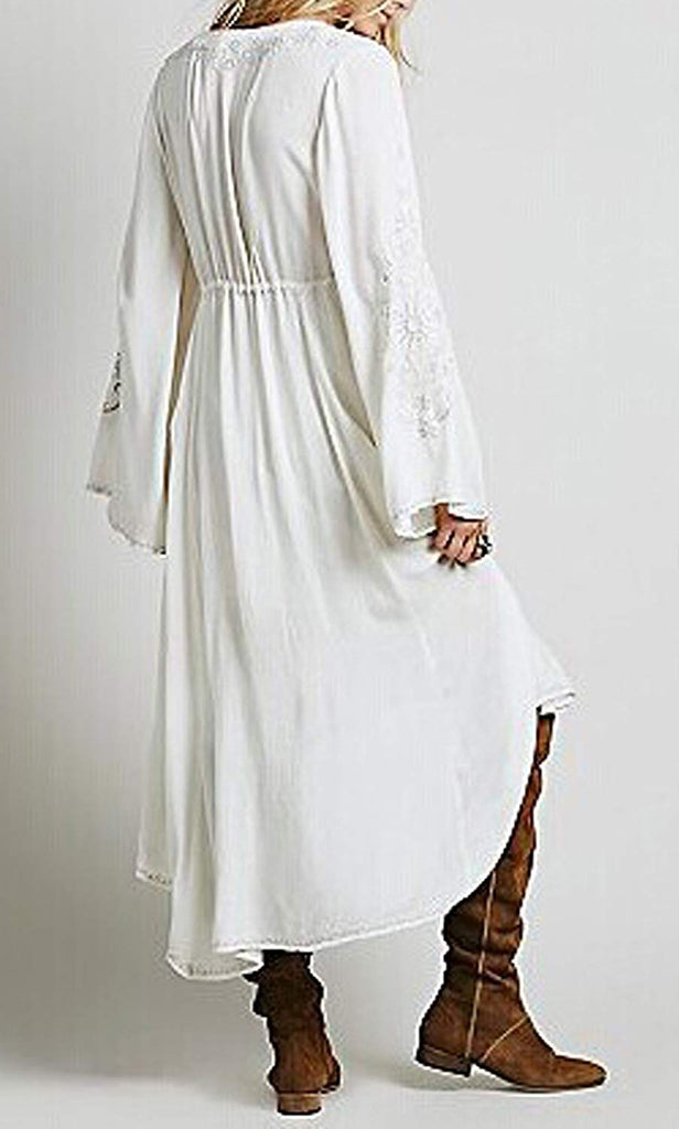 Women Cotton Embroidered High Low Long Dresses