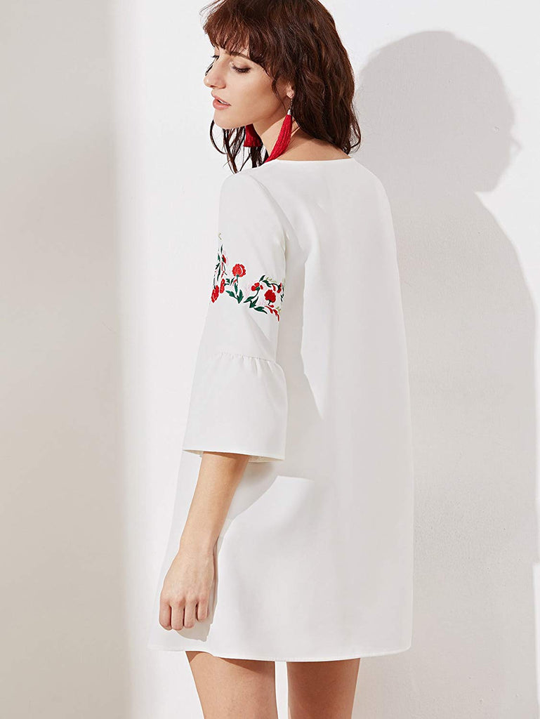 Women's Bell Sleeve Embroidered Tunic Dress