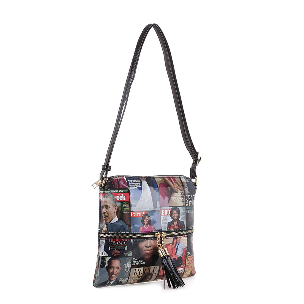 Magazine Cover Lightweight Medium Crossbody Bag with Tassel Michelle Obama Purse