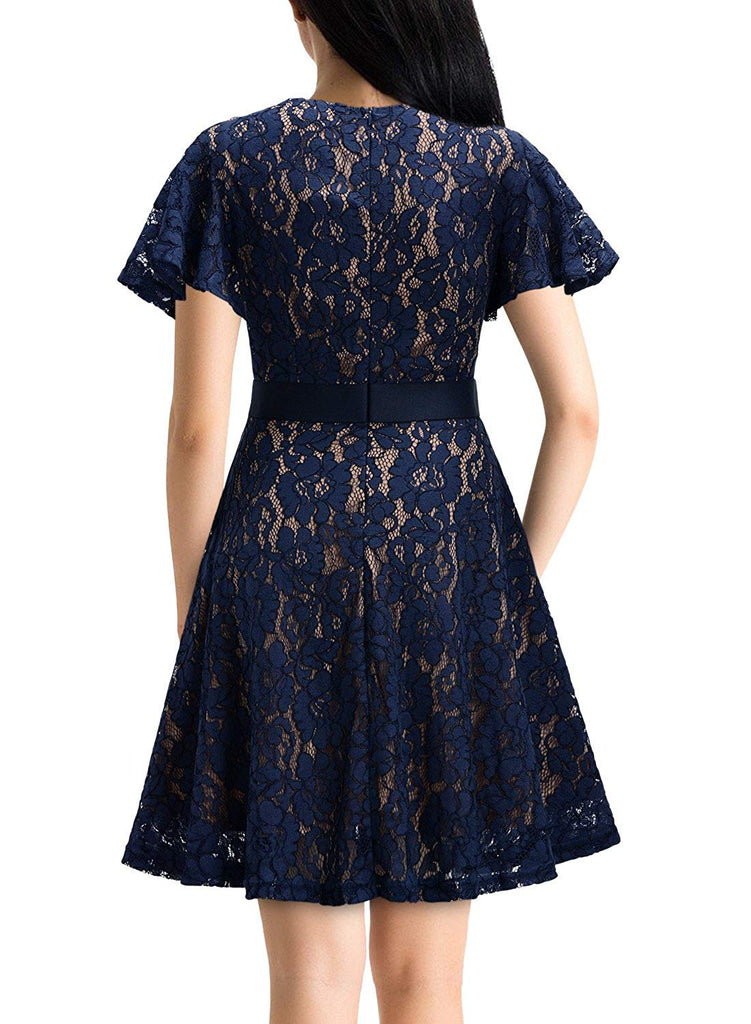 Women's Vintage Full Lace Contrast Flare Sleeve Big Swing A-Line Dress