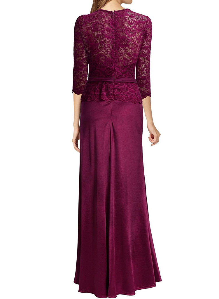Women's Retro Floral Lace Vintage 2/3 Sleeve Slim Ruched Wedding Maxi Dress