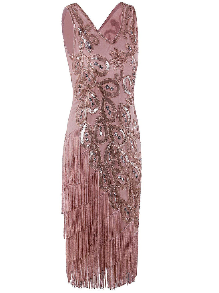 Women's Vintage 1920s Style Peacock Sequin Roaring 20s Gatsby Party Flapper Dress
