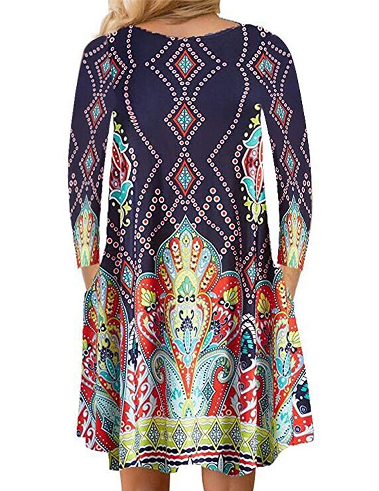 Womens Floral Print Long Sleeve Pockets Casual Loose Swing T-Shirt Dress
