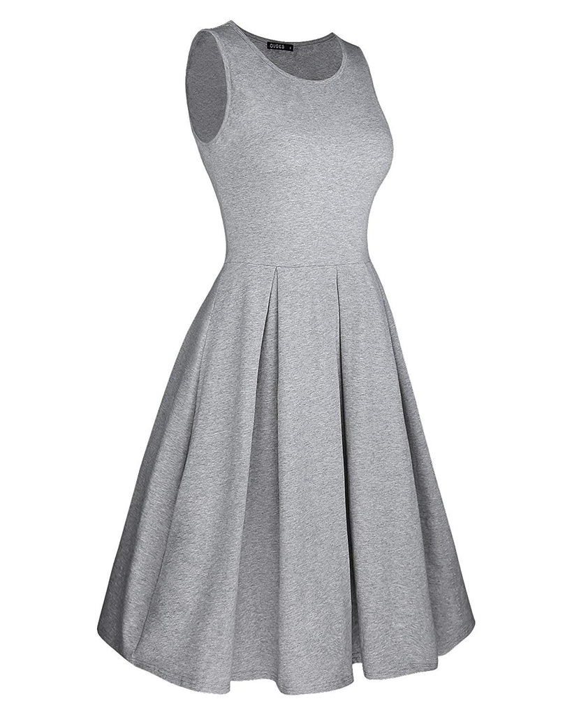 Women's Sleeveless Casual Cotton Flare Dress