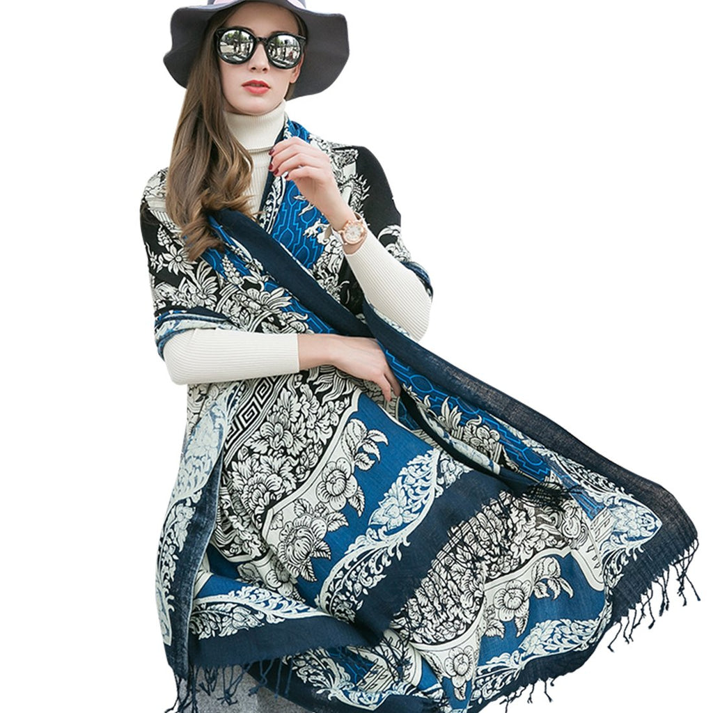 XU Pure Wool Ponchos for Women Large Pashmina Shawls and Wraps