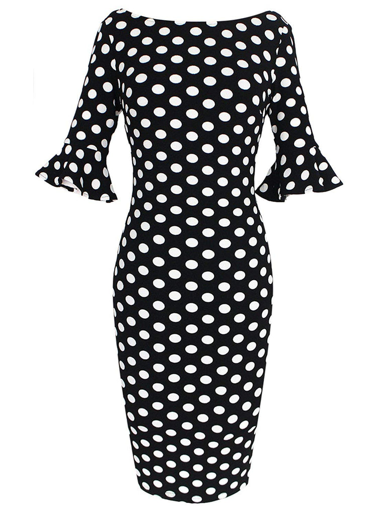 Women Elegant Flare Sleeve Polka Dot Vintage Work Bodycon Dress
