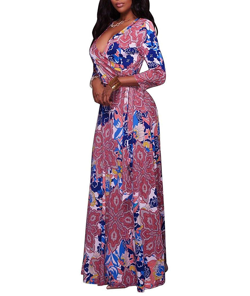 Women's Sexy Deep V Neck Floral Print Loose Dress Stretch Casual Long Maxi