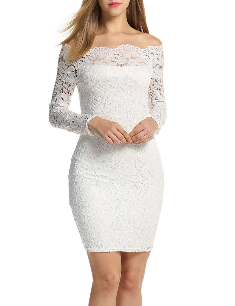 Women's Off Shoulder Lace Dress Long Sleeve Bodycon Cocktail Party Wedding Dresses