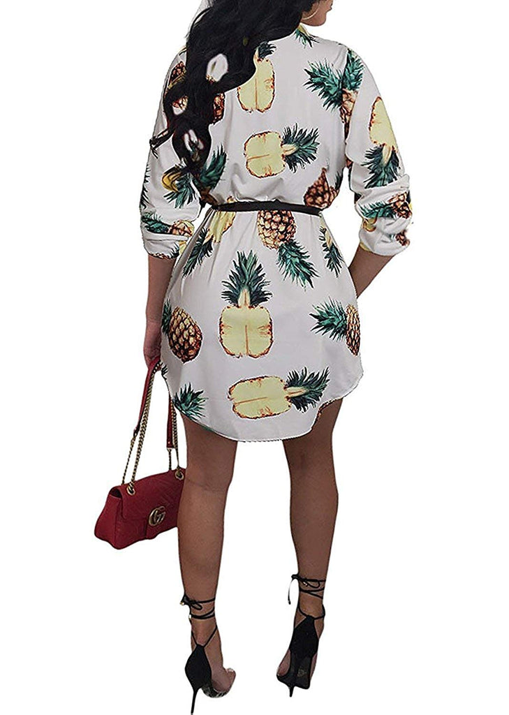 Womens Floral Print Button Down Collar Long Shirt Dress Blouse Mini Dress