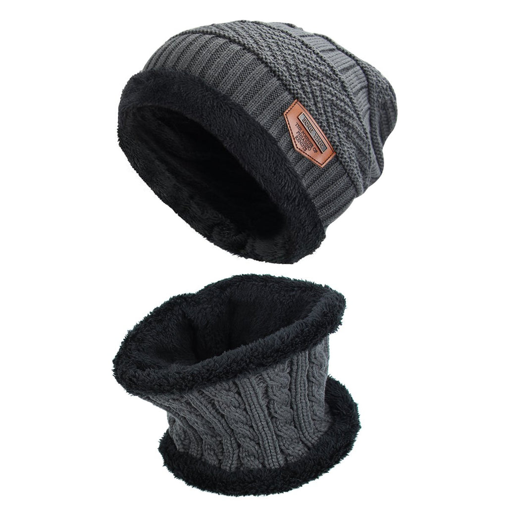 Men's Winter Beanie Hat Scarf Set Warm Knitted Skull Cap with Neck Cover for Men and Women