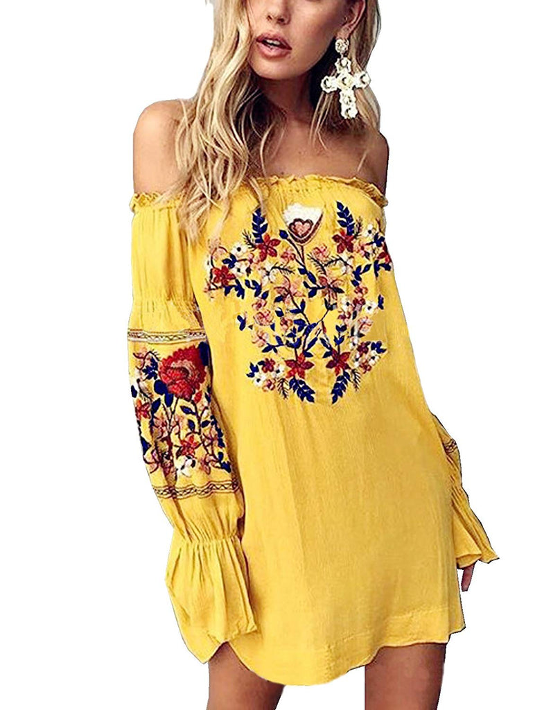 Women Floral Embroidered Off Shoulder Long Sleeve Short Dresses
