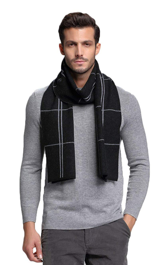 Men's Australian Merino Wool Plaid Knitted Scarf - Soft Warm Gentleman Neckwear with Gift Box