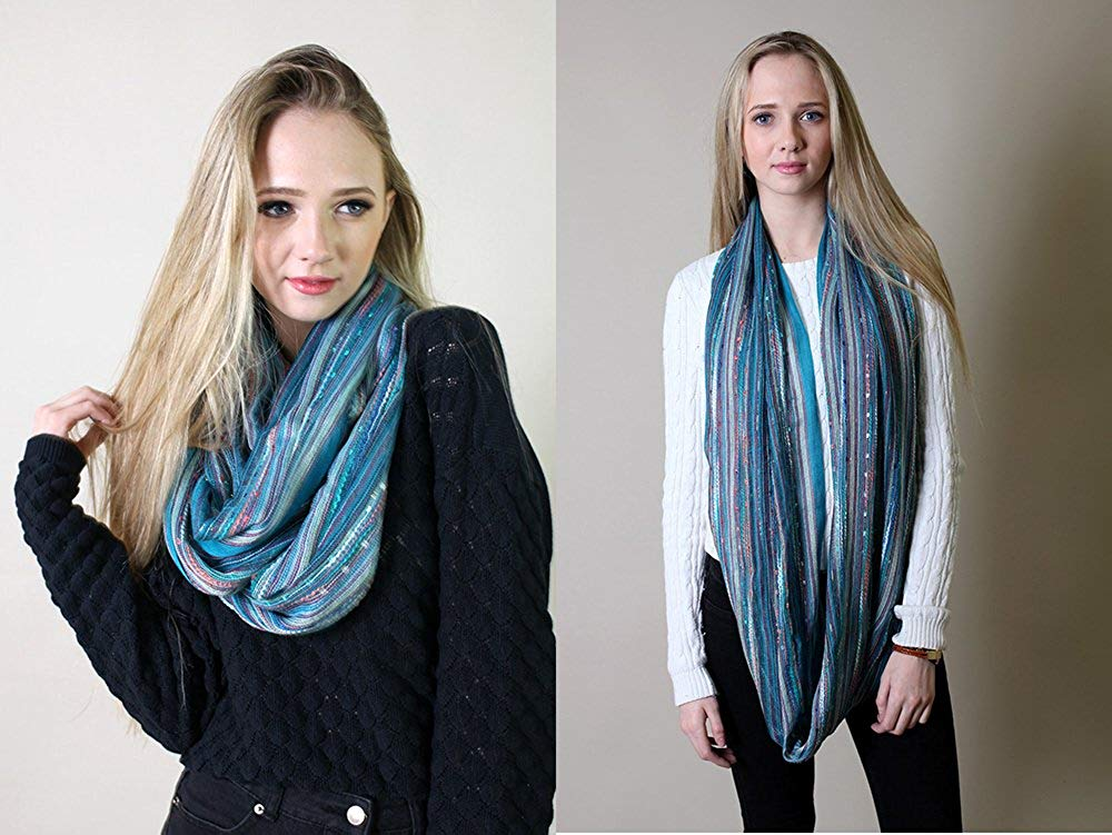 COLORS) Shimmer Sparkle Infinity Scarf, Women's Festival Bliss Lightweight Boho Crochet Loop Shawl