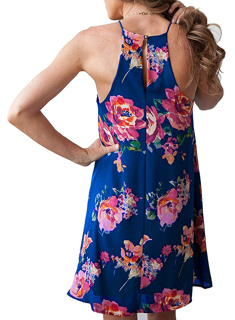 Women's Halter Neck Boho Floral Print Loose Casual Sleeveless Short Dress