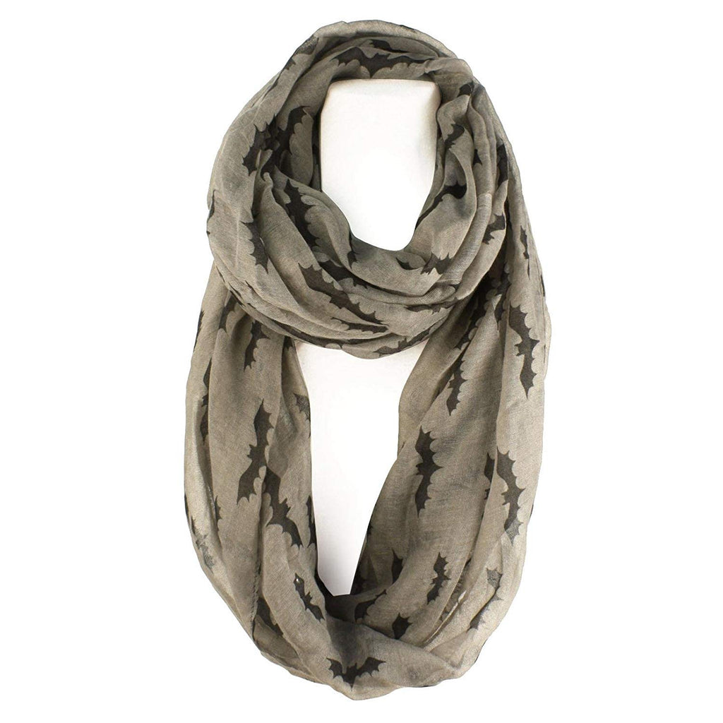 Bat Print Goth Scary Halloween Soft Light Loop Infinity Scarf Wrap