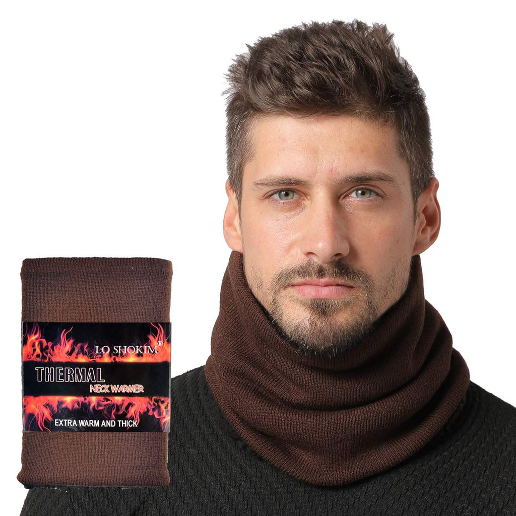 Shokim Winter Double-Layer Fashion Fleece Lining Knit Neck Warmer Circle Scarf Windproof