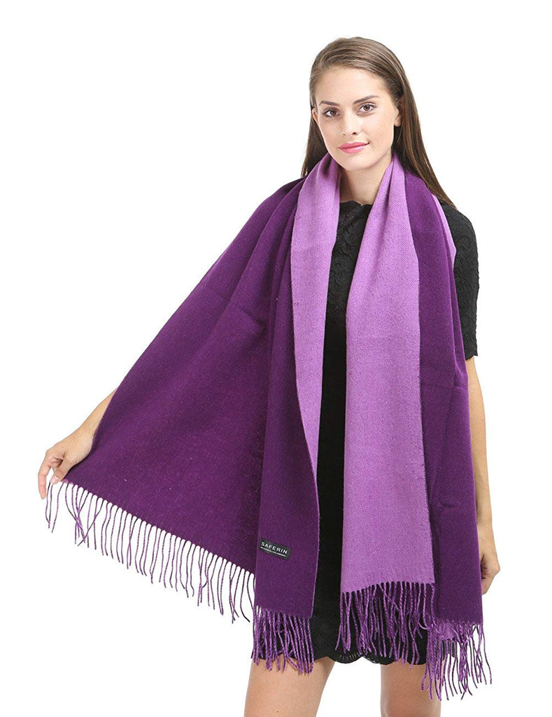 "Box Saferin Large 78""x28"" Women Soft Cashmere Wool Wraps Shawls Stole Scarf (43 Colors Available) (Dark Purple/Purple)"