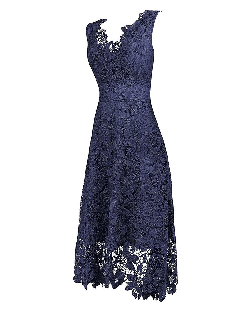 Women's V Neck Elegant Floral Lace Swing Bridesmaid Dress