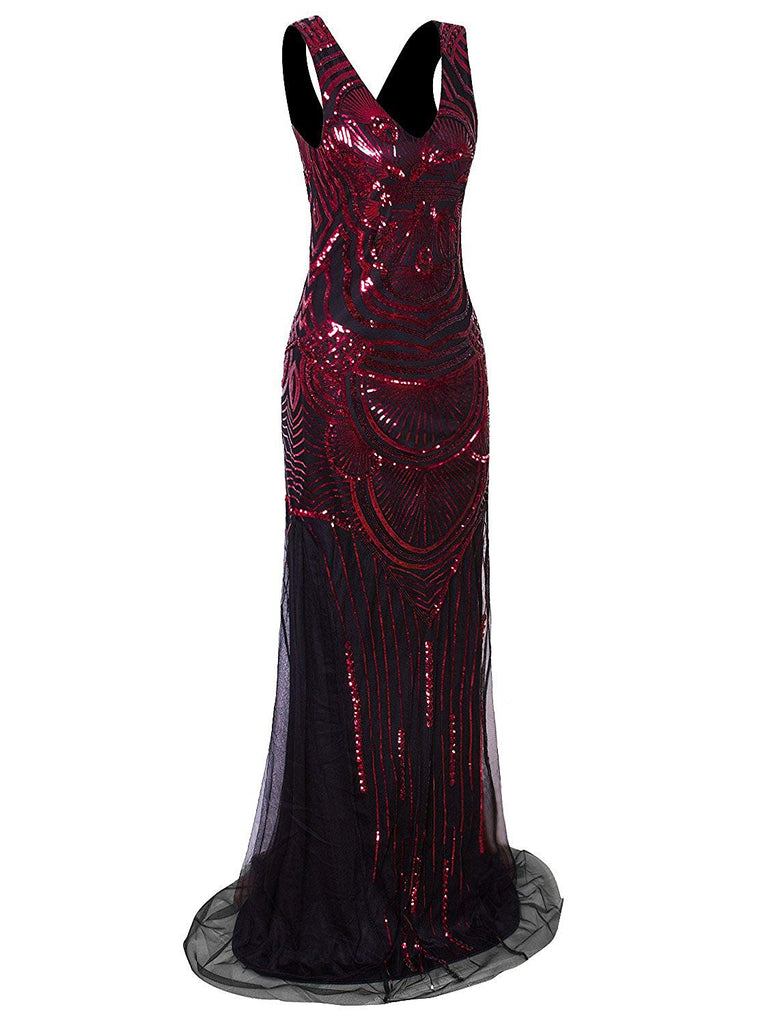 1920s Long Maxi Prom Gowns Sequin Mermaid Bridesmaid Formal Evening Dress
