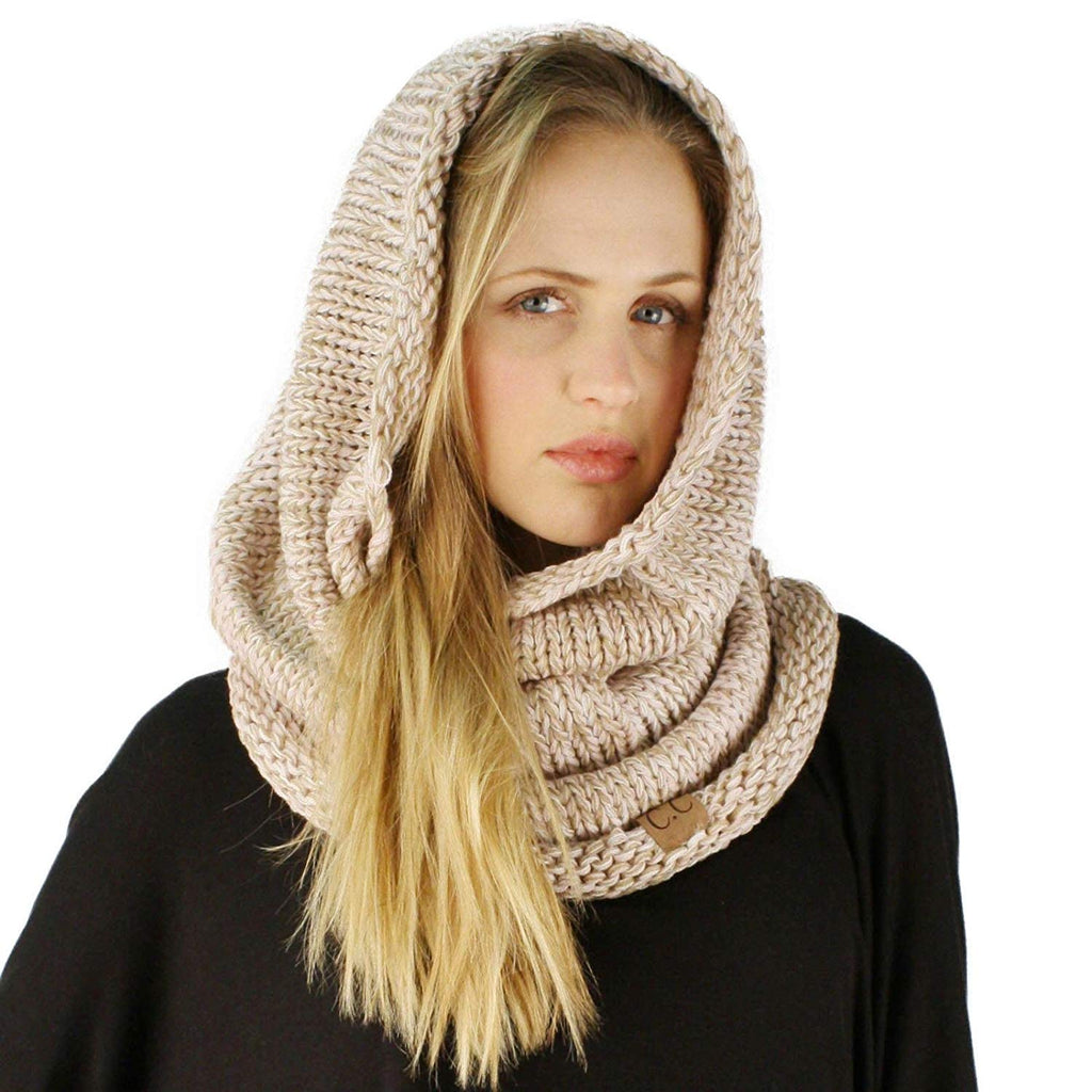 Chunky Long Pullover Knit Single Loop Tube Infinity Hood Cowl Scarf