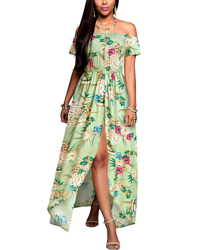 Women's Off Shoulder Floral Rayon Party Split Maxi Romper Dress S-3XL