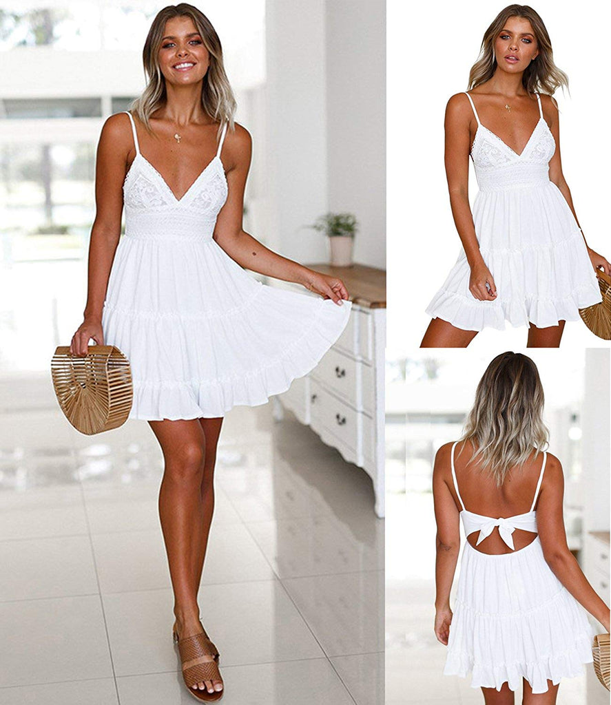 Womens V-Neck Spaghetti Strap Bowknot Backless Sleeveless Lace Mini Swing Skater Dress