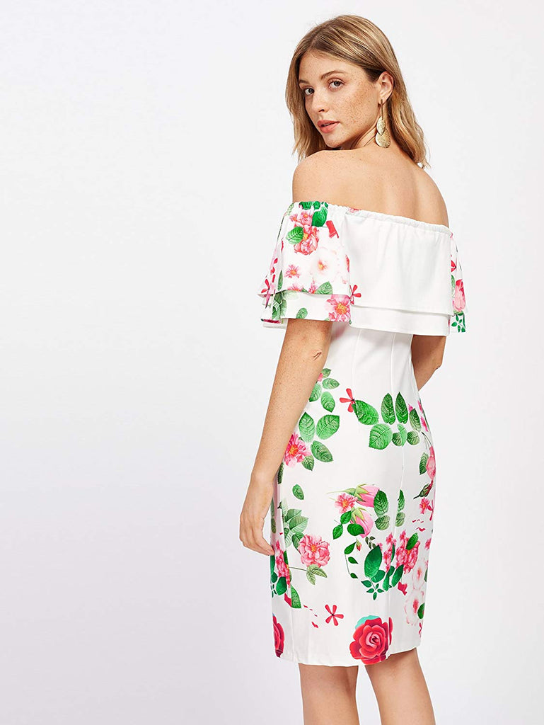 Women's Floral Ruffle Off Shoulder Party Sexy Bodycon Dress