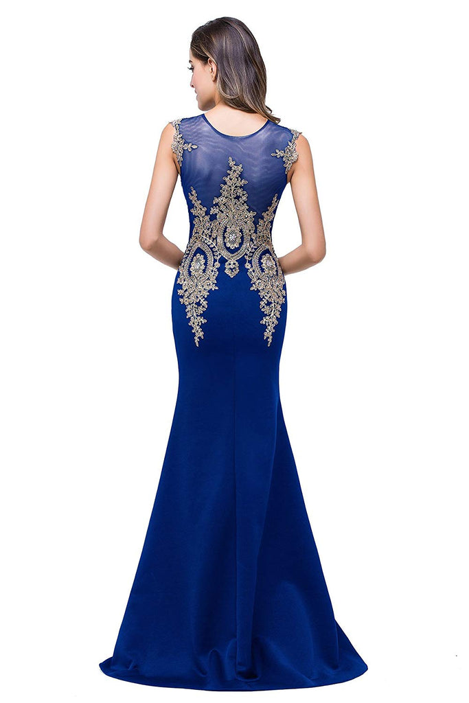 Women's Rhinestone Long Lace Formal Mermaid Evening Prom Dresses
