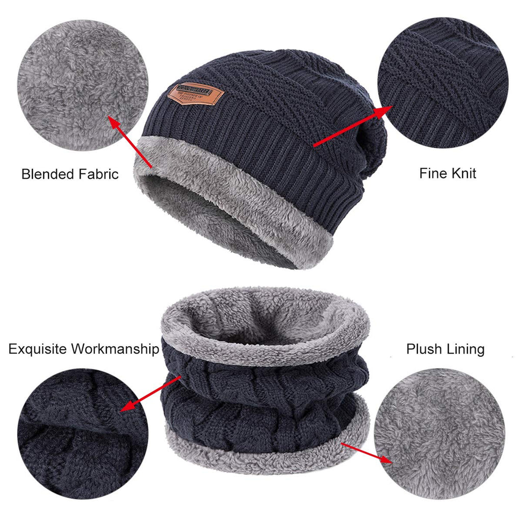 Beanie Hat Infinity Scarf Set ADUO Warm Knit with Thick Fleece Lined Hat & Scarf For Men Women