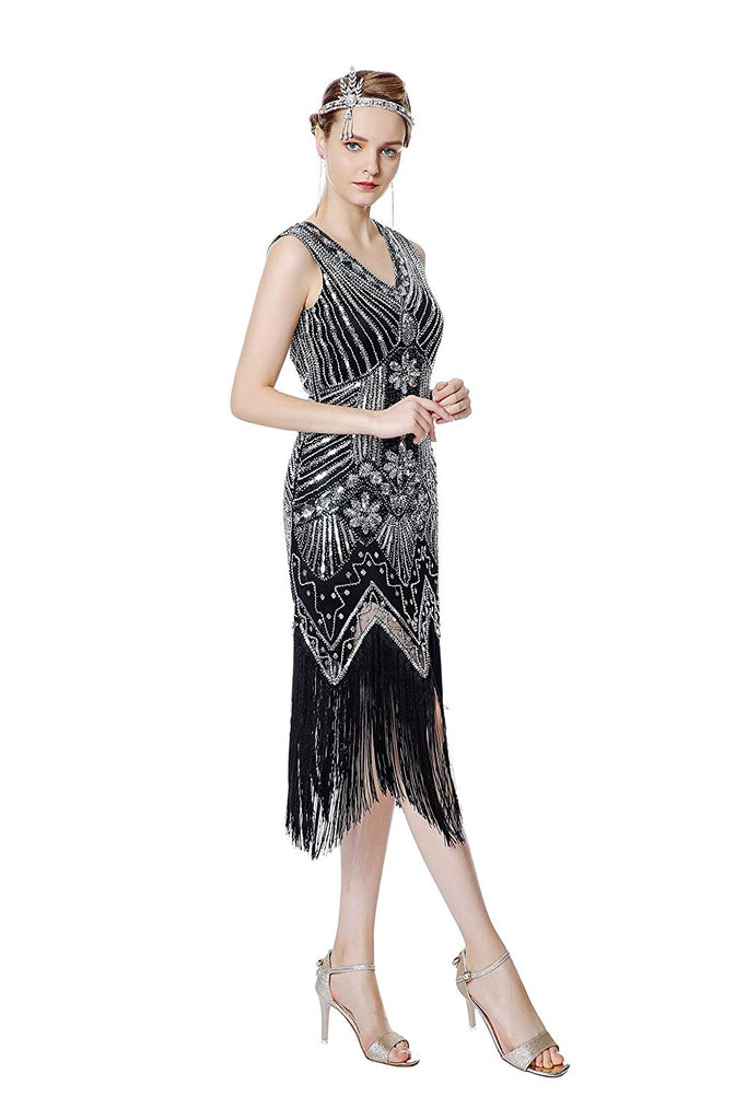 Women's 1920s V Neck Beaded Fringed Gatsby Theme Flapper Dress for Prom